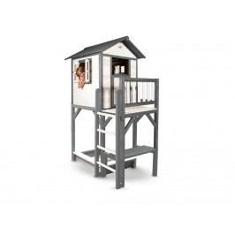 SUNNY Spielhaus Lodge inkl. Sandkasten Grau/Weiß XXL Plus C050.012.00