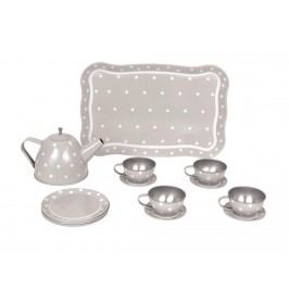 JABADABADO JaBa Café Tee-Set aus Blech mit Koffer Grau G12014
