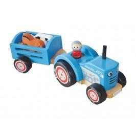 INDIGO JAMM® Holz Traktor mit Anhänger 1x Bauern und 5x Tiere Tractor Tim IIJ8081