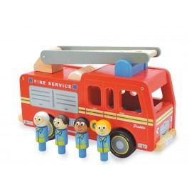 INDIGO JAMM® Holzfeuerwehr mit 4 Feuerwehrmännern Freddie Fire Engine IIJ8051
