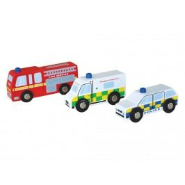 INDIGO JAMM® 3er Set Holz Auto Emergency Vehicles IIJ8023
