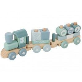 LITTLE DUTCH Adventure Holzeisenbahn mit Steckformen Blue 4417
