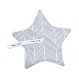 LITTLE DUTCH Melange Schnullertuch Grey Leaves 15x15cm 3935