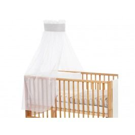 BABYBAY TOBI Betthimmel Weiß mit grauer Stern Banderole für Kinderbett Babybay 400722