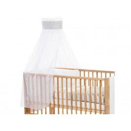 BABYBAY TOBI Betthimmel Weiß mit grauer Punkte Banderole für Kinderbett Babybay 400721