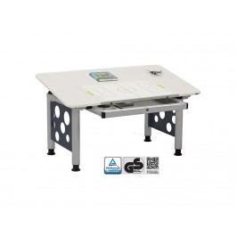 ORGOO Schreibtisch mit Schublade Grau Höhenverstellbar 53 - 72cm