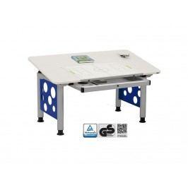 ORGOO Schreibtisch mit Schublade Grau Blau Höhenverstellbar 53 - 72cm