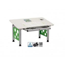 ORGOO Schreibtisch mit Schublade Grau Grün Höhenverstellbar 53 - 72cm