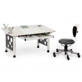 ORGOO Schreibtisch mit Schublade Weiß Grau Höhenverstellbar 53 - 72cm