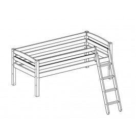 FLEXA BASIC Trendy Baukomponente für Etagenbett mit Schräger Leiter Weiß lasiert lackiert 80-16402-2