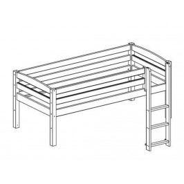 FLEXA BASIC Trendy Baukomponente für Etagenbett mit Grader Leiter Weiß lasiert lackiert 80-16401-2