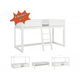 LIFETIME Kinderbett Kombibett 4 in 1 Weiß mit Schräg Leiter Rollrost Original 49611-GREY