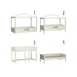 LIFETIME Kinderbett Kombibett 4 in 1 Weiß mit Schräg Leiter Rollrost Original 49611-01W