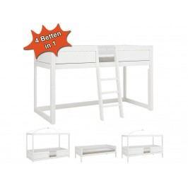 LIFETIME Kinderbett Kombibett 4 in 1 Weiß mit Schräg Leiter Rollrost Original