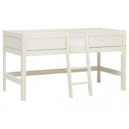 LIFETIME Original Minihochbett Weiß mit Schräger Leiter Mittig und Rollrost 46203-01W