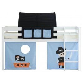 FLEXA BASIC Spielbett HIT Weiß mit Gerader Leiter Vorhang Betttasche Tunnel