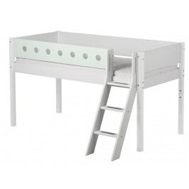 FLEXA White Halbhochbett Weiß mit schräger Leiter und Lattenrost 90x200cm 80-17311-19