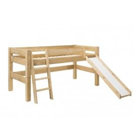 DOLPHIN Moby Spielbett mit Schräger Leiter Rutsche und Rolllattenrost Kiefer 8070R-3