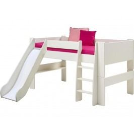 STEENS for Kids Halbhochbett mit Rutsche Gerader Leiter und Rolllattenrost 2906170050001N