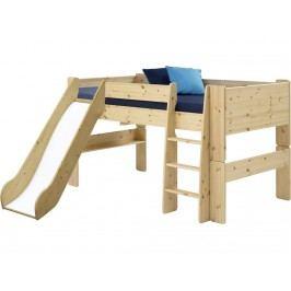 STEENS for Kids Halbhochbett mit Rutsche Gerader Leiter und Rolllattenrost 2906170019001N