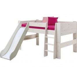STEENS for Kids Halbhochbett mit Rutsche Gerader Leiter und Rolllattenrost