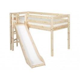 FLEXA Classic Spielbett mit Plattform und Rutsche 90x190cm Natur lackiert 90-10186-1-01