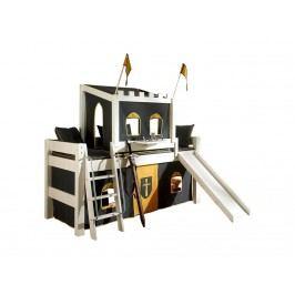 DOLPHIN Moby Halbhochbett Ritter mit Vorhang Turm und Rutsche