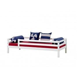 HOPPEKIDS Sofabett Weiß mit Absturz vorn und hinten und Rolllattenrost Basic