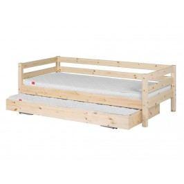 FLEXA Classic Bettliege mit Gästebett und Rückenleiste 90x200cm Natur lackiert 90-10172-1-01
