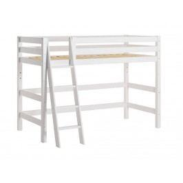 HOPPEKIDS Premium Mittelhochbett Weiß mit Schräger Leiter und Lattenrost PRE-B7-1