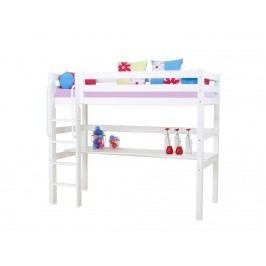 HOPPEKIDS Premium Hochbett mit Schreibtischplatte Gerader Leiter und Lattenrost Premiu PRE-B18-1