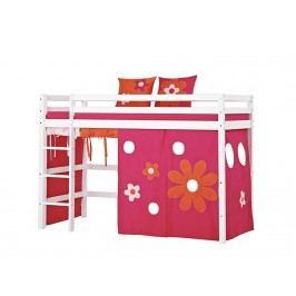 HOPPEKIDS Premium | Flower Power Hochbett Weiß mit Gerader Leiter und Vorhang Space oder Flower Premiu