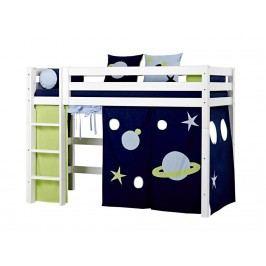 HOPPEKIDS Premium | Space Hochbett Weiß mit Gerader Leiter und Vorhang Space oder Flower Premiu