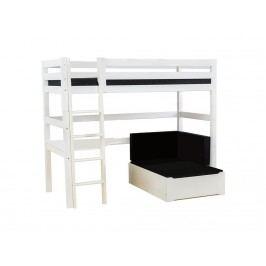 HOPPEKIDS Premium Hochbett Weiß mit Lounge-Ecke Tischplatte und Gerader Leiter