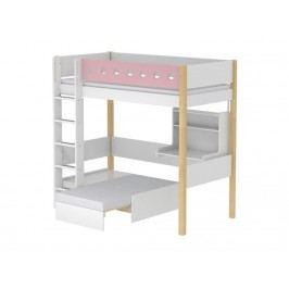 FLEXA White Hochbett Casa Weiß mit gerader Leiter Schreibtisch