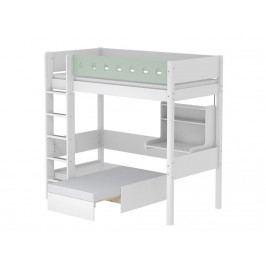 FLEXA White Hochbett Casa Weiß mit gerader Leiter und Schreibtisch 80-17512-19