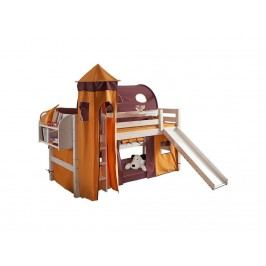 DOLPHIN Fantasy Spielbett mit Gerader Leiter und Rolllattenrost Kiefer massiv F 8-1