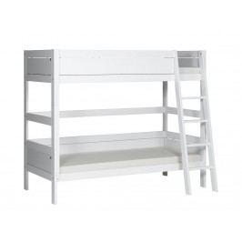LIFETIME Original Etagenbett Weiß mit schräger Leiter und Deluxe Lattenrost