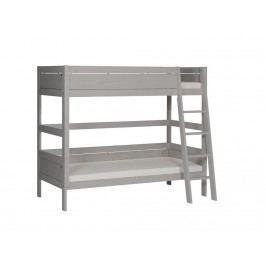 LIFETIME Original Etagenbett Weiß mit schräger Leiter und Deluxe Lattenrost 463021-GREY
