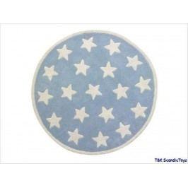 KIDS CONCEPT Teppich Star hellblau kleine Sterne 100% Wolle handgeknüpft Ø 120 cm 601483