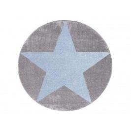 LIVONE Teppich STAR rund Silbergrau/Blau Ø133cm Happy Rugs Livone LT-StarRundGrauBlau-133