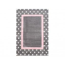 LIVONE Teppich POINT Silbergrau/Rosa 160x230cm Happy Rugs Livone LT-PointSilbergrauRosa-160