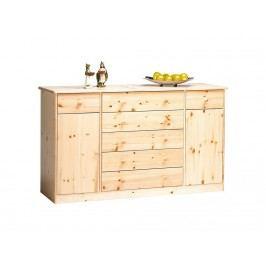 STEENS Sideboard mit 2 Türen mit 5 großen + 2 kleinen Schubladen Klarlack | Gelaugt