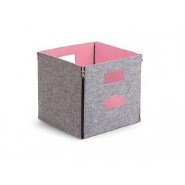 CHILDHOME Spielzeug Box Filz Grau Rosa 32x32x29cm , Faltbar und Wendbar CCFSBSP