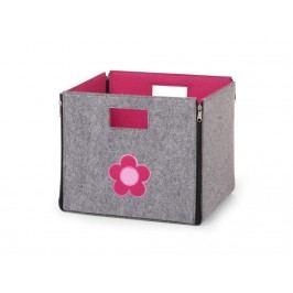 CHILDHOME Spielzeug Box Filz Grau Rosa Blume 32x32x29cm , Faltbar und Wendbar CCFSBFF