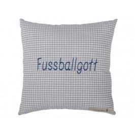 LOTTAS LABLE® Botschaftskissen Fußballgott Grey/Blau 30x30cm 11000-7