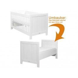 BOPITA Basic Wood Babybett White Wash 70x140cm Lattenrost 2x höhenverstellbar 12410734