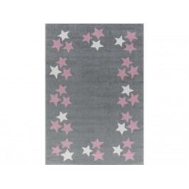 LIVONE Livone Happy Rugs Teppich BORDERSTAR Silbergrau/Rosa 120x180cm LT-BorderstarGrauRosa-120