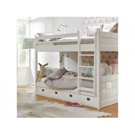 ALTA FURNITURE Etagenbett mit Gerader Leiter 4 Schubladen Snow white 90x200cm ALTA furniture
